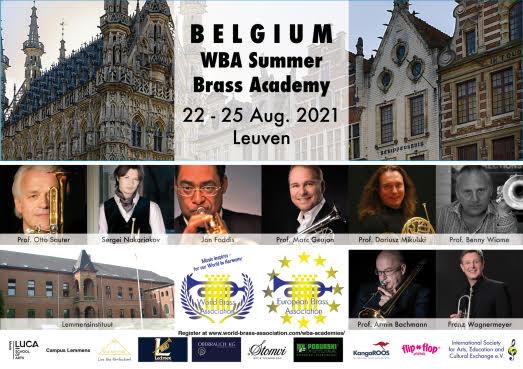 BELGIUM WBA Summer Brass Academy<br>22-25 Aug. 2021 Leuven